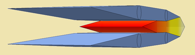 Illustration of a lower speed ramjet engine with smaller air-intake opening