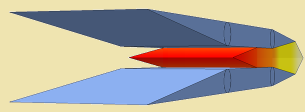 Illustration of a mid speed ramjet and scramjet engine with larger air-intake opening