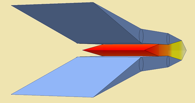 Illustration of a hypersonic scramjet engine with huge air-intake opening